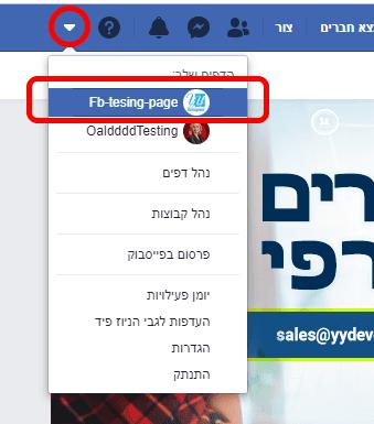 כניסה לעמוד פייסבוק עסקי